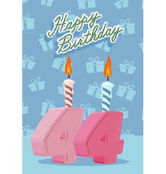 Birthday candle number 44 with flame vector image