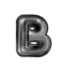 Black latex inflated alphabet symbol b vector