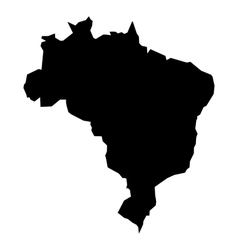 Black silhouette map of Brasil vector