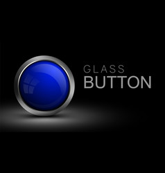 blue glass button for web design vector image