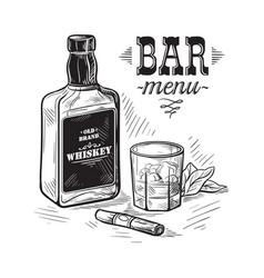 bottles for alcohol sketch vector image