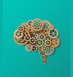 Brain and gearpaper cut style vector