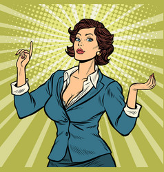 businesswoman presentation gesture vector image