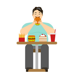 cartoon man eating fast food vector image