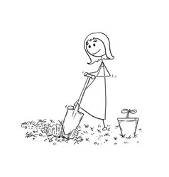 cartoon of gardener woman digging a hole for plant vector image