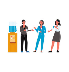 cartoon people standing office water cooler and vector image