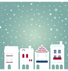 Christmas city on snowing background vector image