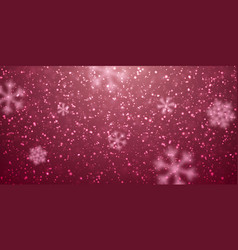 christmas snow falling snowflakes on red vector image