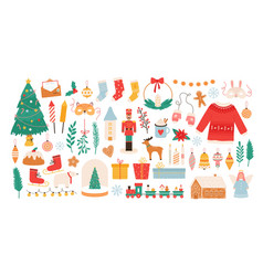 christmas stickers winter holiday decorations vector image