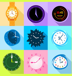 Clock and watch icons set flat style vector
