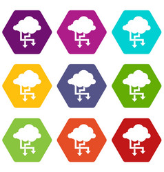 cloud and arrows icon set color hexahedron vector image