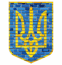 coat of arms of ukraine on a brick wall vector image
