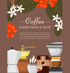 coffee shop poster morning vector image
