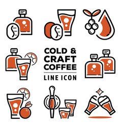 Cold and craft coffee line icon vector