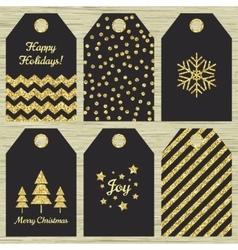 Collection of six Christmas gift tags vector