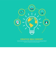 Creative idea concept light bulb and globe vector image