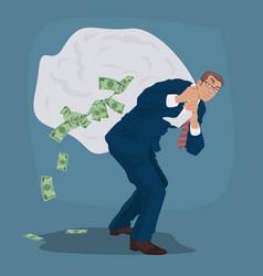 Cunning businessman carries huge bag full cash vector