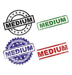 Damaged textured medium seal stamps vector