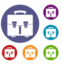 diplomat bag icons set vector image