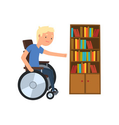 Disabled man in wheelchair next to the bookcase vector