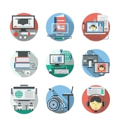 Distance learning detailed flat icons set vector
