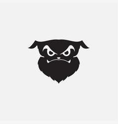 Dog face scary silhouette logo design vector