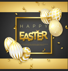 easter black and gold background with realistic vector image