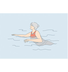elderly people active lifestyle concept vector image