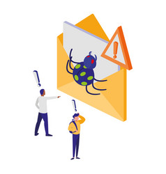 envelope mail with bug and alert sign vector image