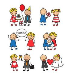 family situations vector image