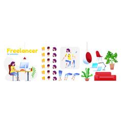 female flat freelancer girl animation set vector image