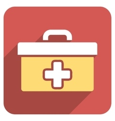 First Aid Toolbox Flat Rounded Square Icon with vector image vector image