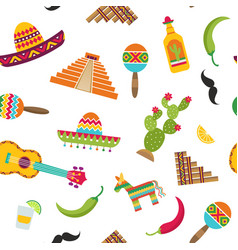 flat mexico attributes pattern vector image