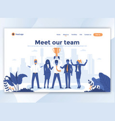flat modern design of wesite template - meet our vector image