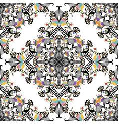 floral greek seamless pattern elegance colorful vector image