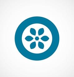 Flower bold blue border circle icon vector