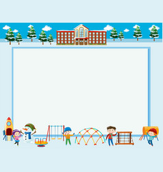 Frame template with kids in winter vector