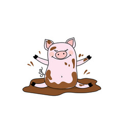 Funny pig in the mudisolated on white background vector