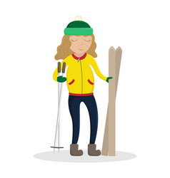 girl in winter clothes with skis in hand vector image
