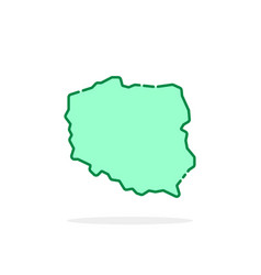 green cartoon linear poland icon vector image