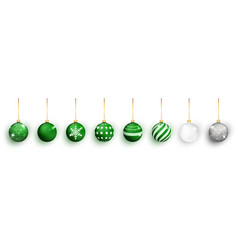green christmas ball with snow effect set xmas vector image