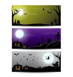 halloween night banner vector image