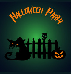 halloween party pumpkin and zombie cat under the vector image