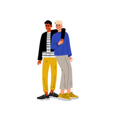 happy gay interracial male couple hugging men vector image