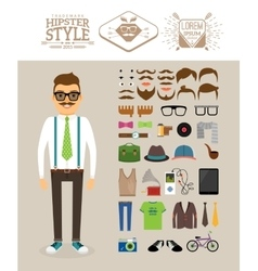 Hipster man Accessories hairstyles and labels vector image