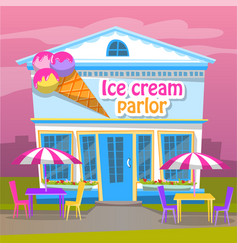 Ice cream parlor cold dessert business for summer vector