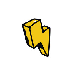 icon lightning a yellow lightning arrow vector image