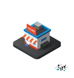 Isometric store icon building city infographic vector image