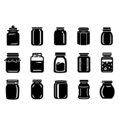 Jar glass for jam or honey icons set simple style vector