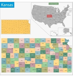 Kansas map vector image